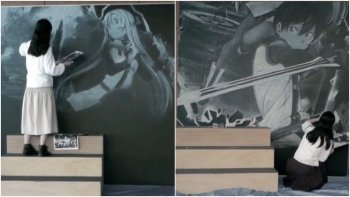 Lihat Seniman Ini Menggambar Ulang Visual 'SAO: Ordinal Scale' di Papan Tulis